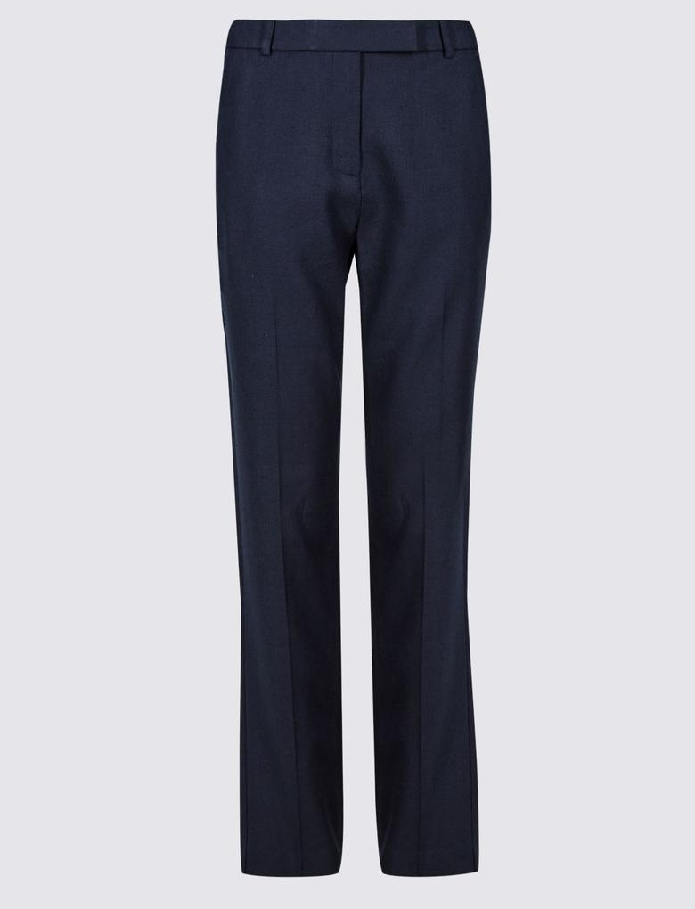 Keten Karışımlı Straight Leg Pantolon