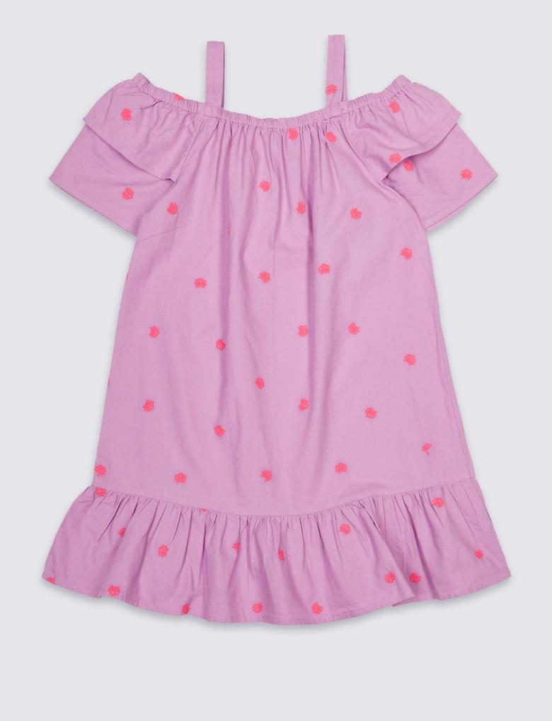 Pembe İşlemeli Saf Pamuklu Elbise