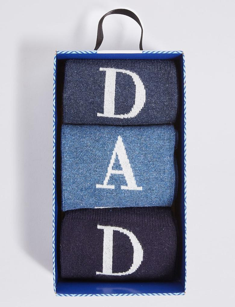 Mavi 3'lü Pamuklu Çorap