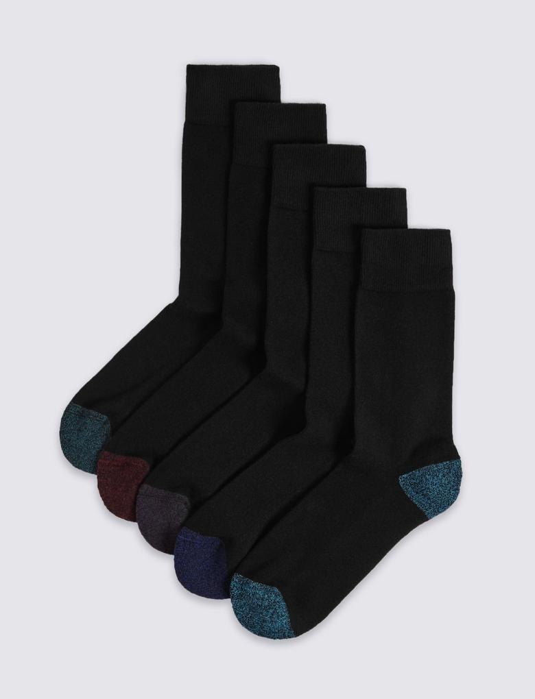 Siyah 5'li Cool & Freshfeet™ Destekli Tabanlı Çorap