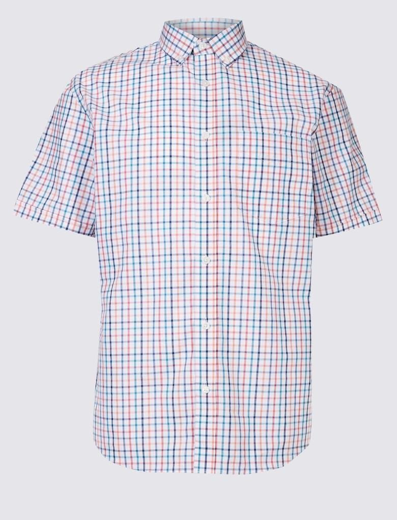 Multi Renk Saf Pamuklu Ekose Gömlek