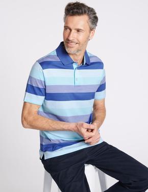 Slim Fit Saf Pamuklu Çizgili Polo Yaka T-Shirt