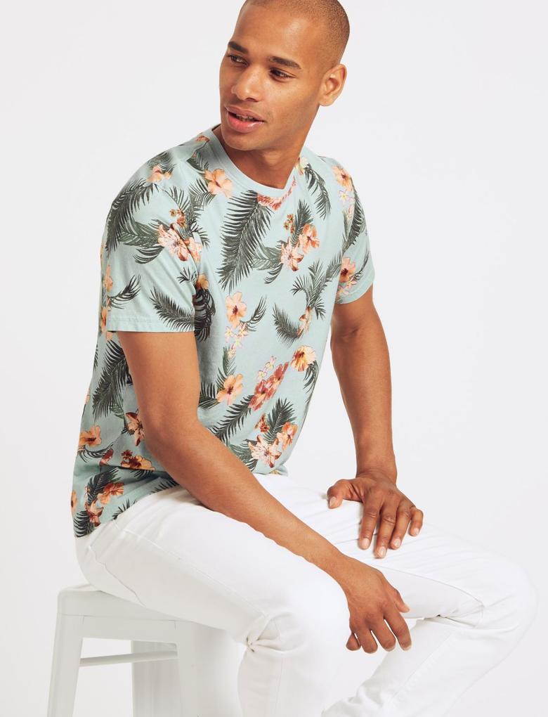 Slim Fit Saf Pamuklu Sıfır Yaka T-Shirt