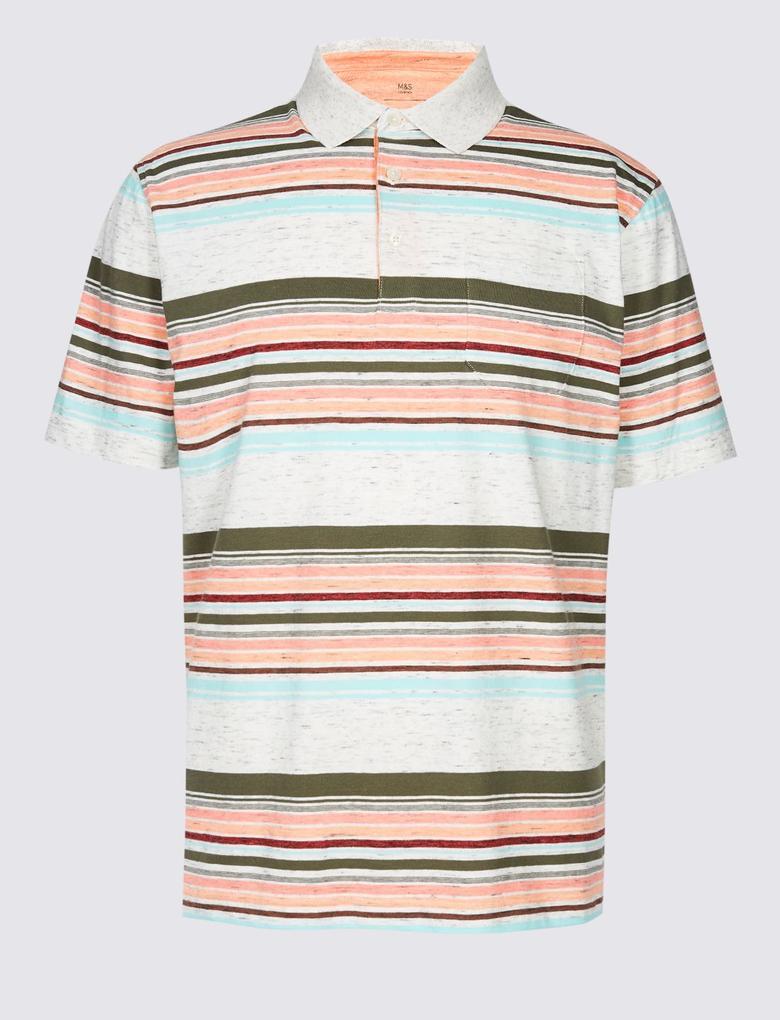Bej Çizgili Polo Yaka T-Shirt