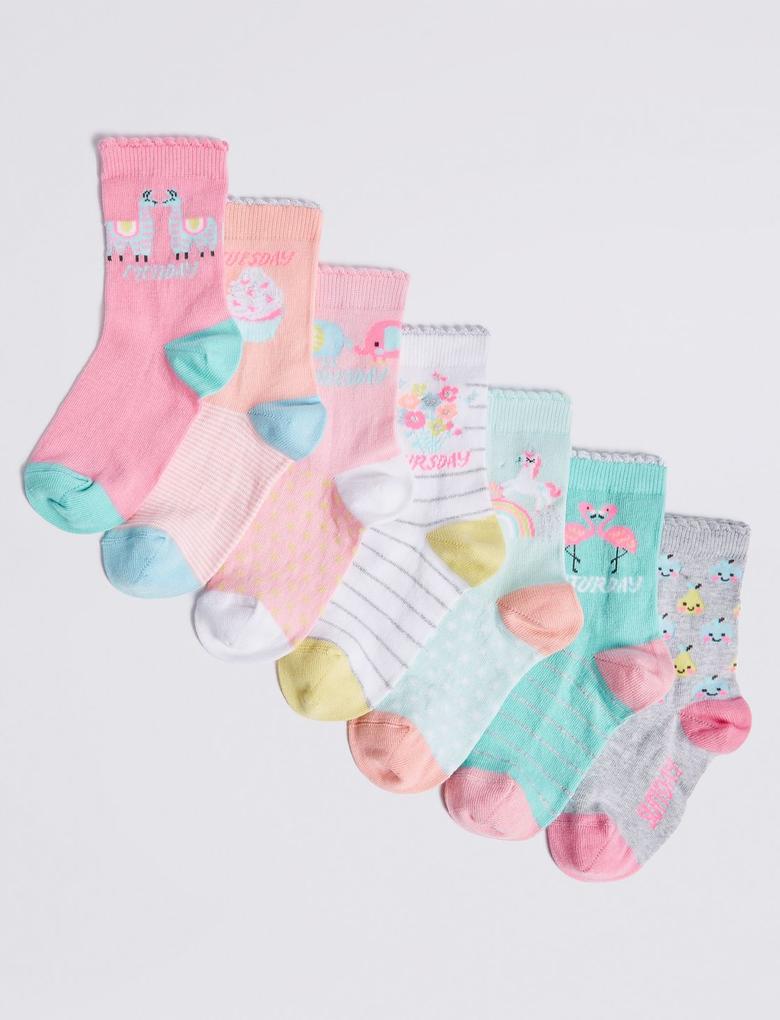 Pembe 7'li Çorap