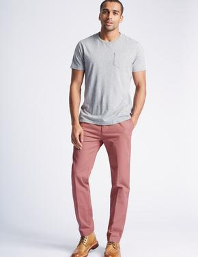 Saf Pamuklu Slim Fit Chino Pantolon