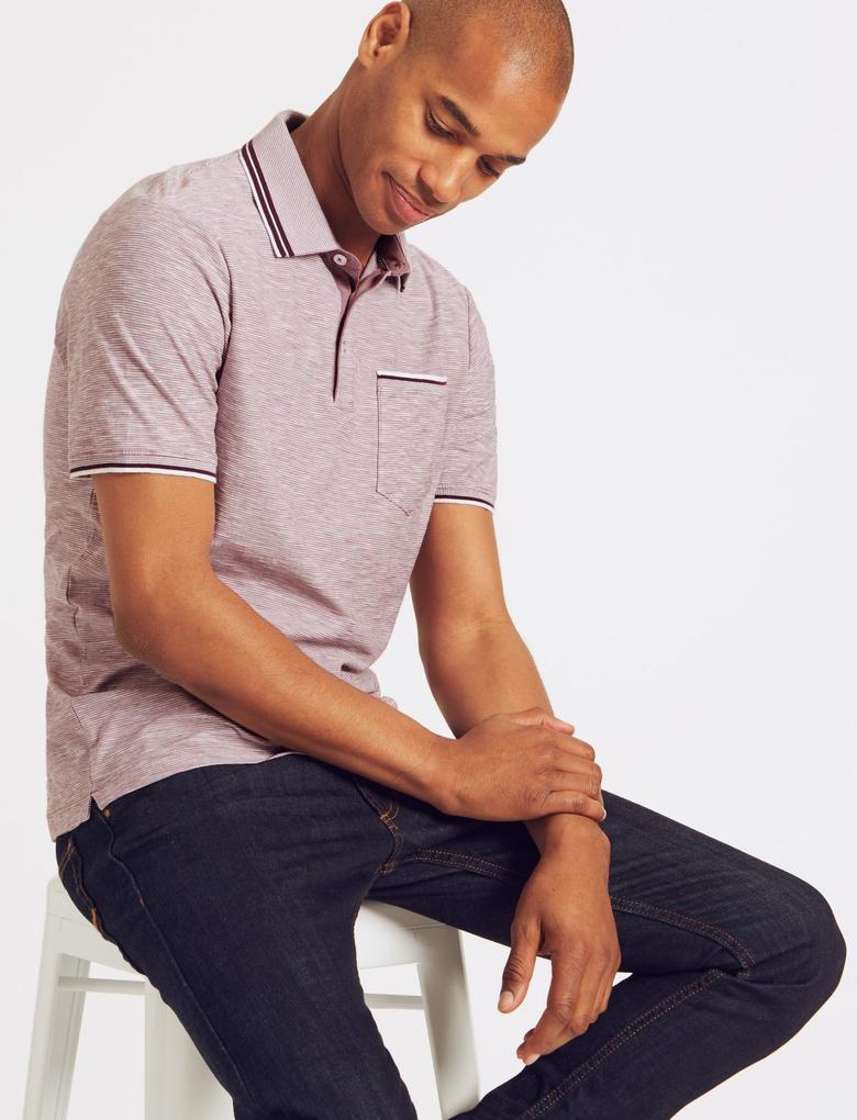 Pembe Slim Fit Saf Pamuklu Çizgili Polo Yaka T-Shirt