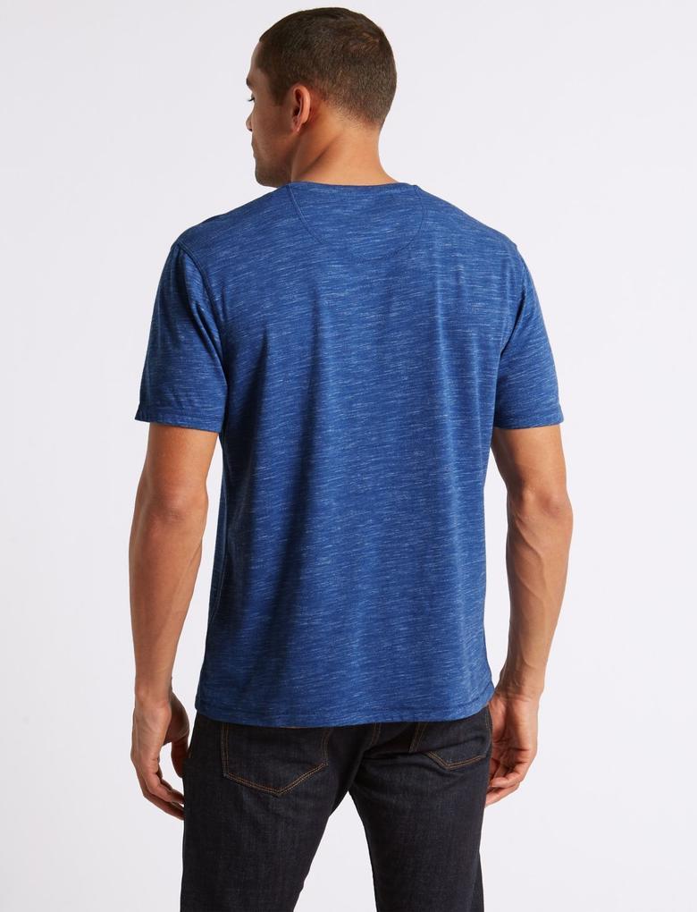 Pamuklu Desenli Sıfır Yaka T-Shirt