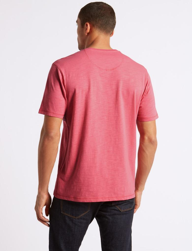 Saf Pamuklu Sıfır Yaka Desenli T-Shirt