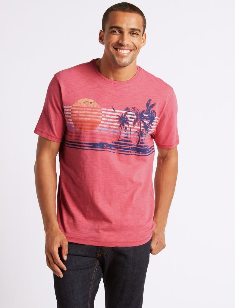 Pembe Saf Pamuklu Sıfır Yaka Desenli T-Shirt