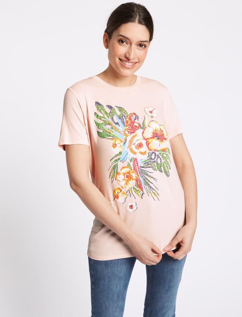 Desenli Kısa Kollu Yuvarlak Yaka T-Shirt