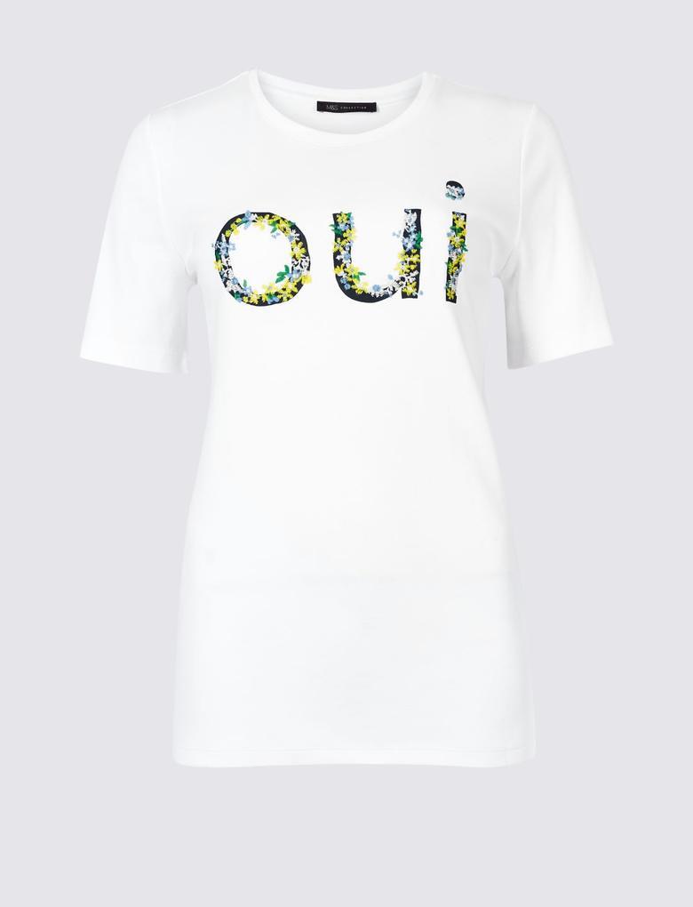 Kadın Beyaz Saf Pamuklu İşlemeli Kısa Kollu T-Shirt