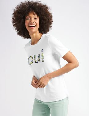 Saf Pamuklu İşlemeli Kısa Kollu T-Shirt
