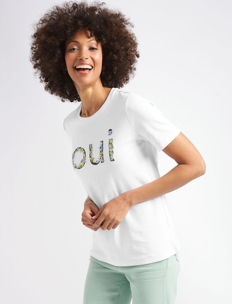 Beyaz Saf Pamuklu İşlemeli Kısa Kollu T-Shirt