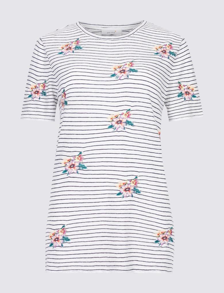 Keten Karışımlı İşlemeli T-Shirt