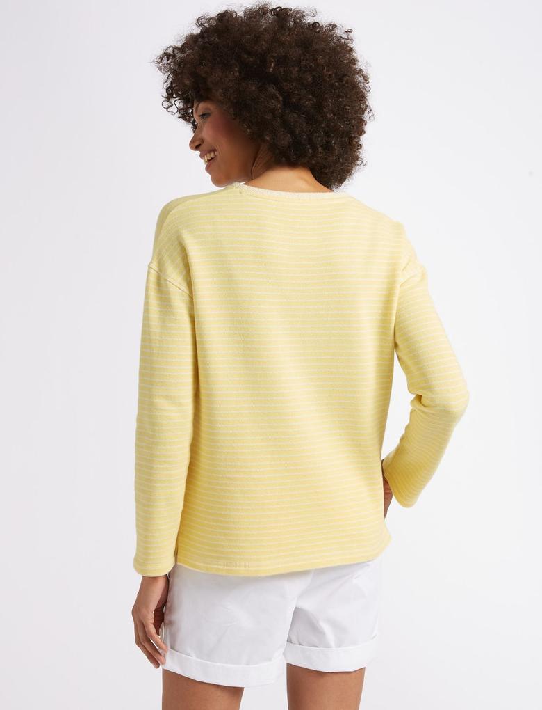Sarı Pamuklu Uzun Kollu Çizgili Bluz