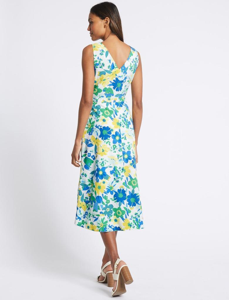 Yeşil Saf Pamuklu Çiçek Desenli Midi Elbise