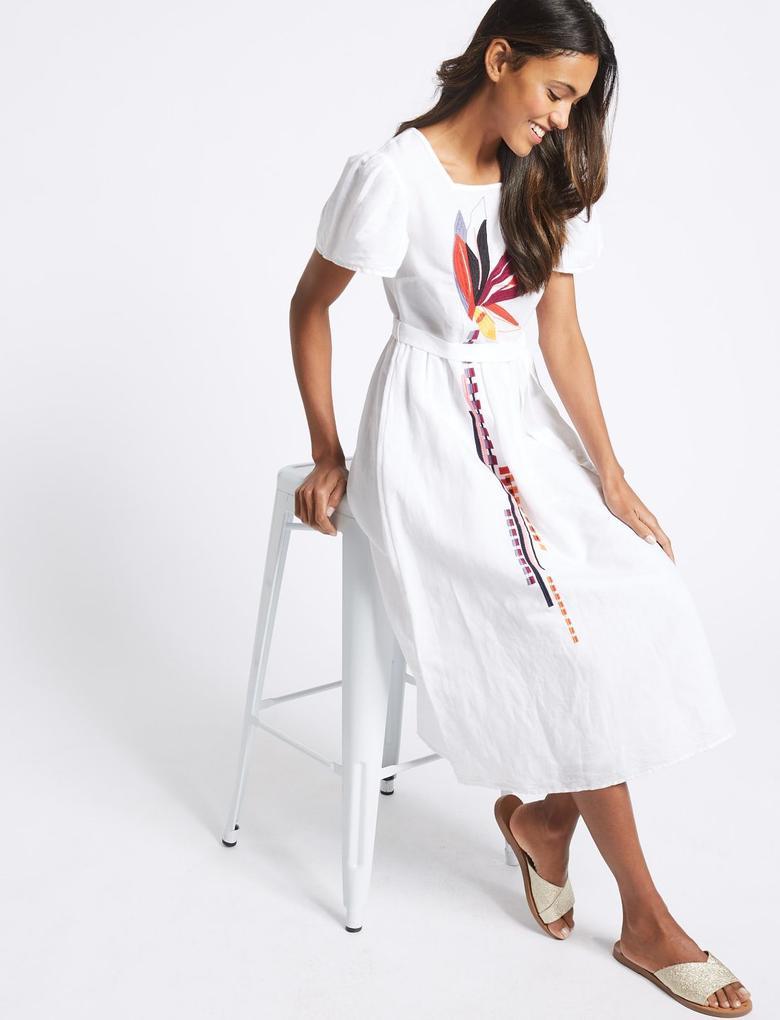 Bej Keten Karışımlı İşlemeli Midi Elbise