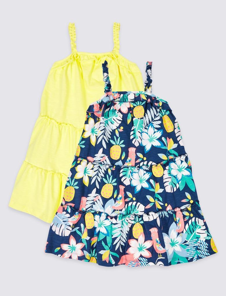 Multi Renk 2'li Saf Pamuklu Elbise
