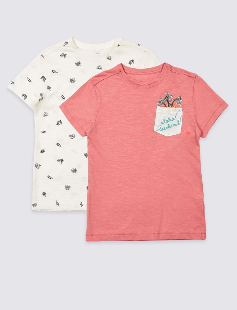 2'li Saf Pamuklu T-Shirt