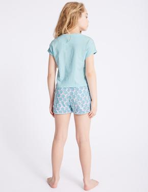 Kız Çocuk Mavi Saf Pamuklu Desenli Pijama Takımı
