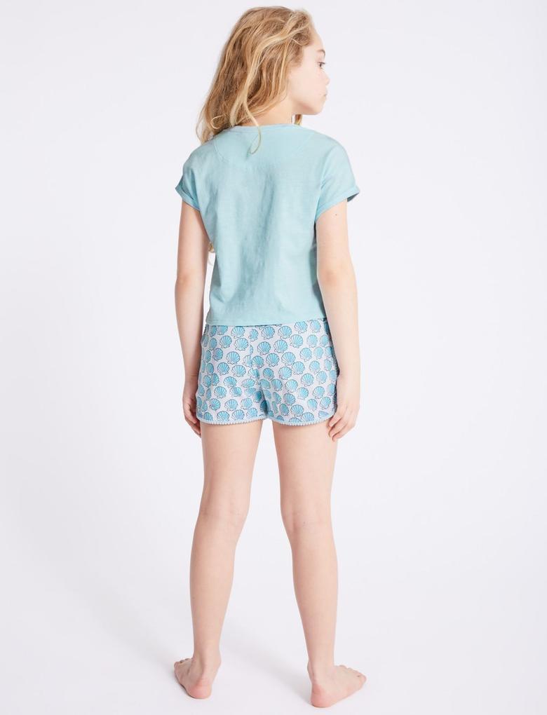 Mavi Saf Pamuklu Desenli Pijama Takımı