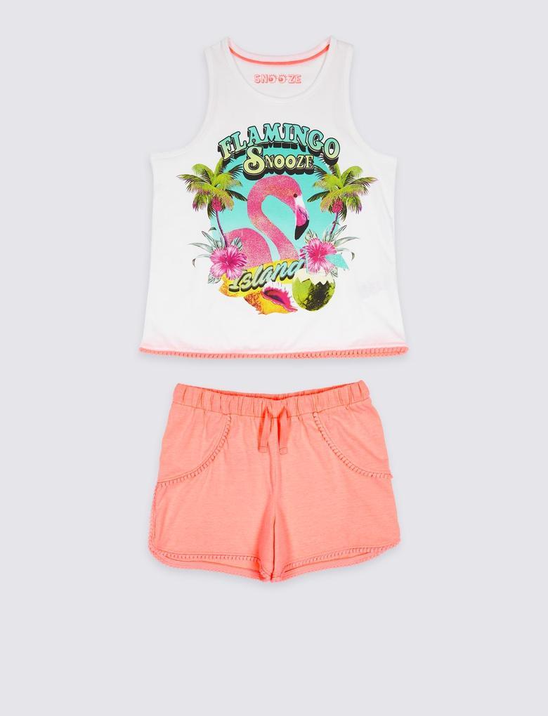 Turuncu Flamingo Desenli Pijama Takımı