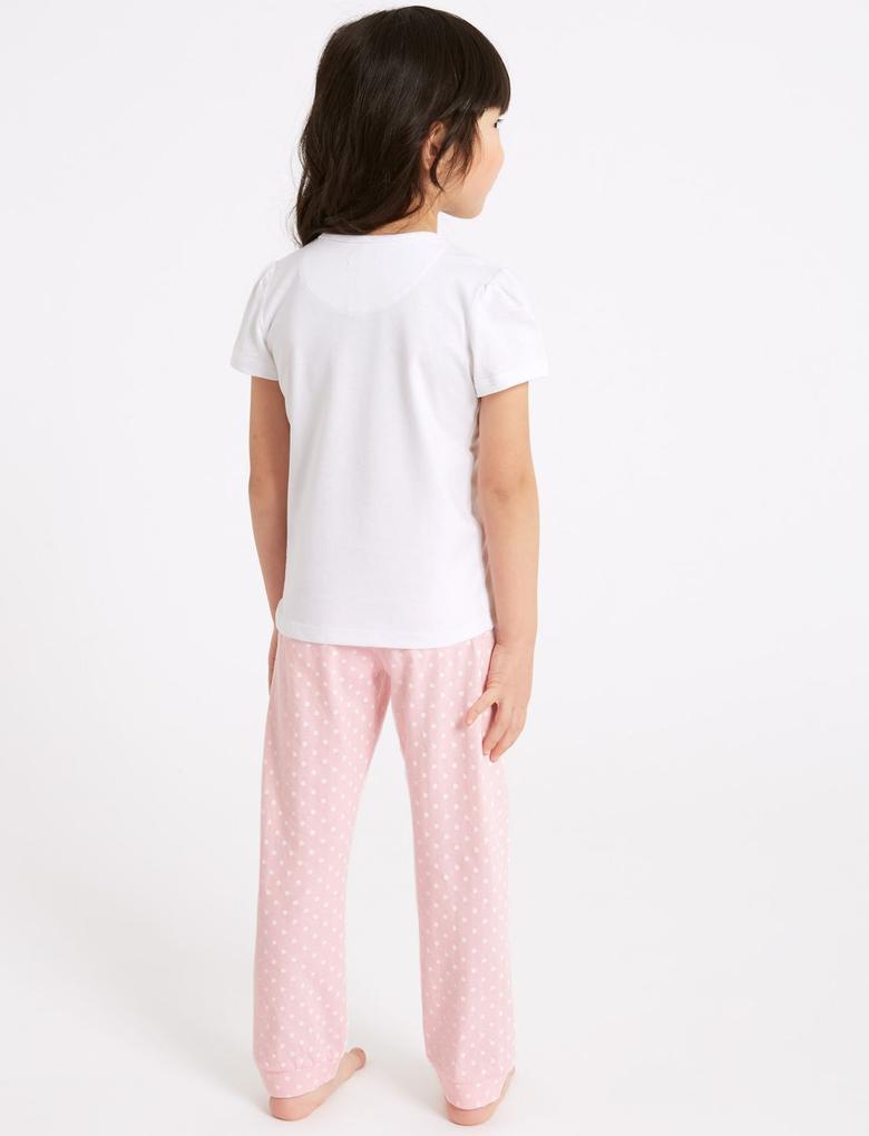 Pembe Saf Pamuklu Pijama Takımı