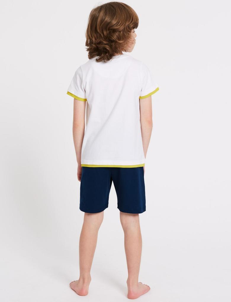 Mavi Emoji™ Saf Pamuklu Pijama Takımı