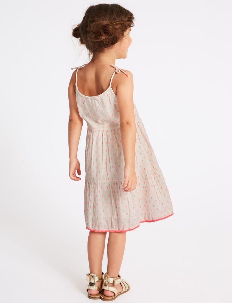 Kız Çocuk Pembe Pamuklu Elbise