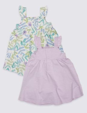 Multi Renk 2'li Saf Pamuklu Jarse Elbise