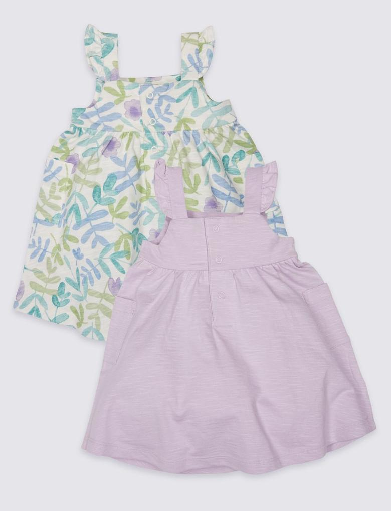 2'li Saf Pamuklu Jarse Elbise