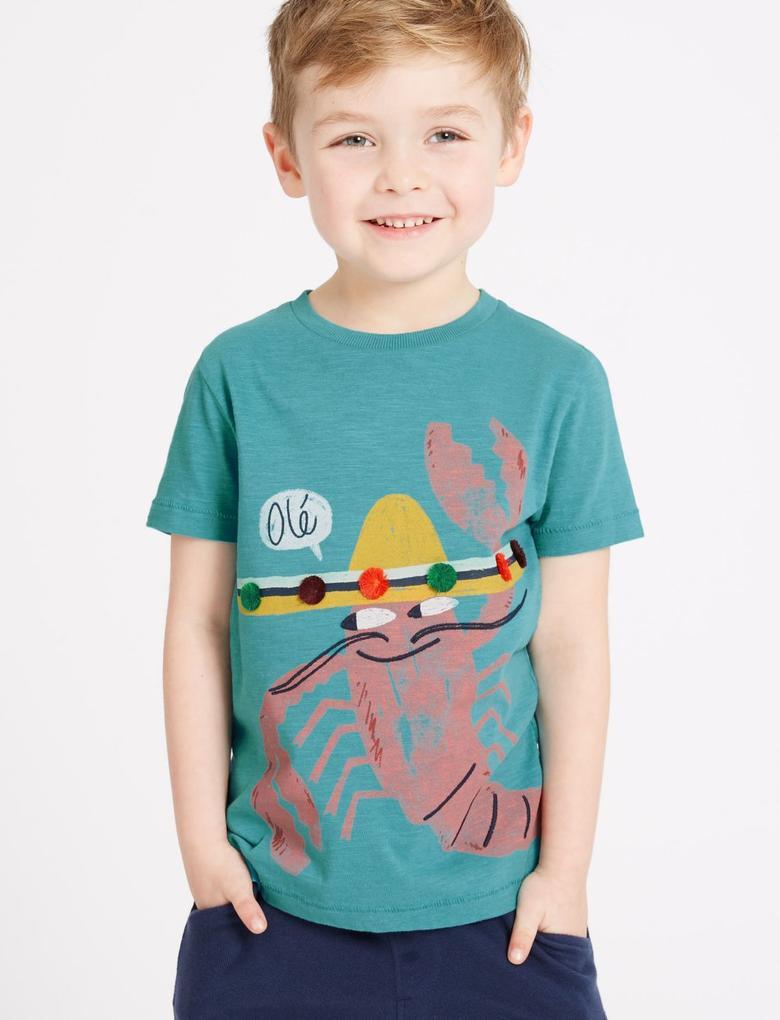Yeşil Saf Pamuklu T-Shirt