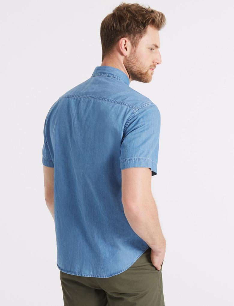 Mavi Saf Pamuklu Gömlek