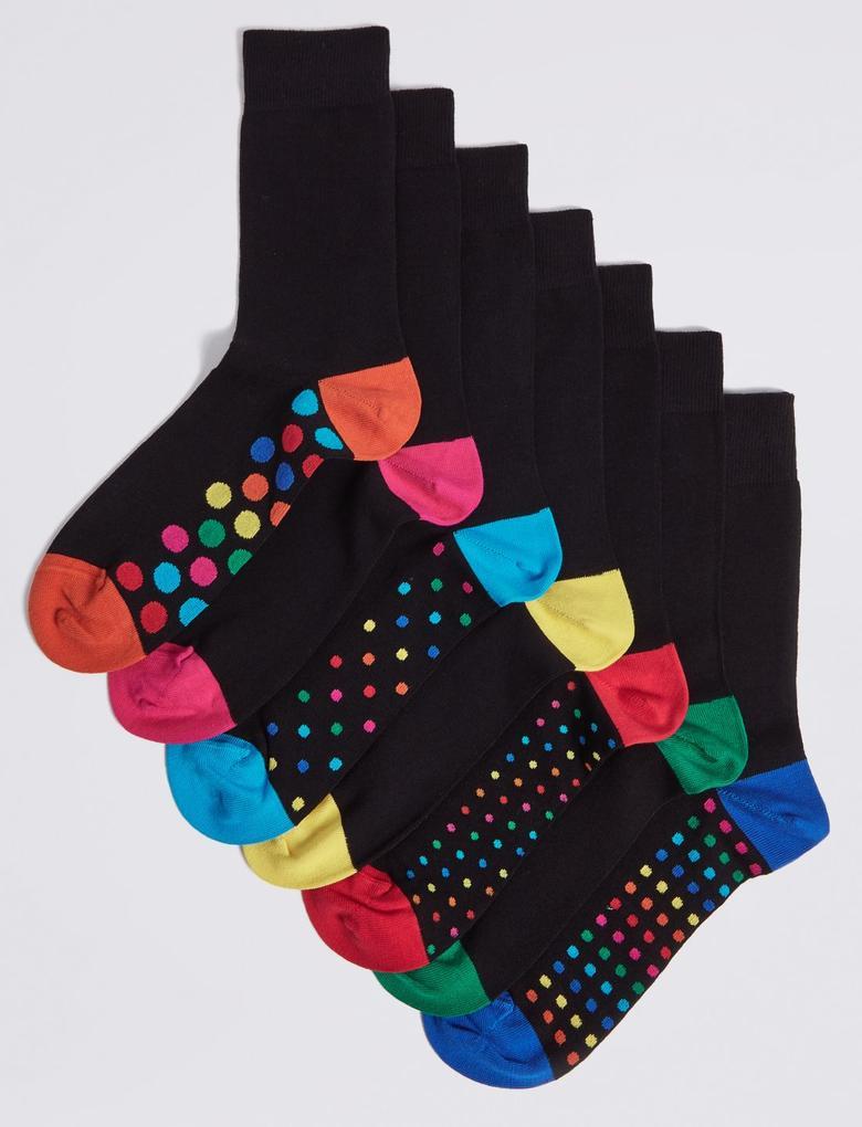Siyah 7'li Freshfeet™ Desenli Çorap
