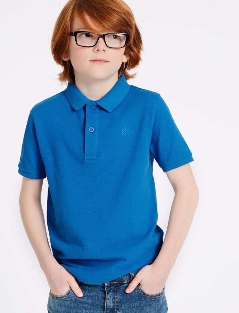 Mavi Saf Pamuklu Polo Yaka T-Shirt