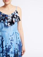 Çiçek Desenli Maxi Elbise