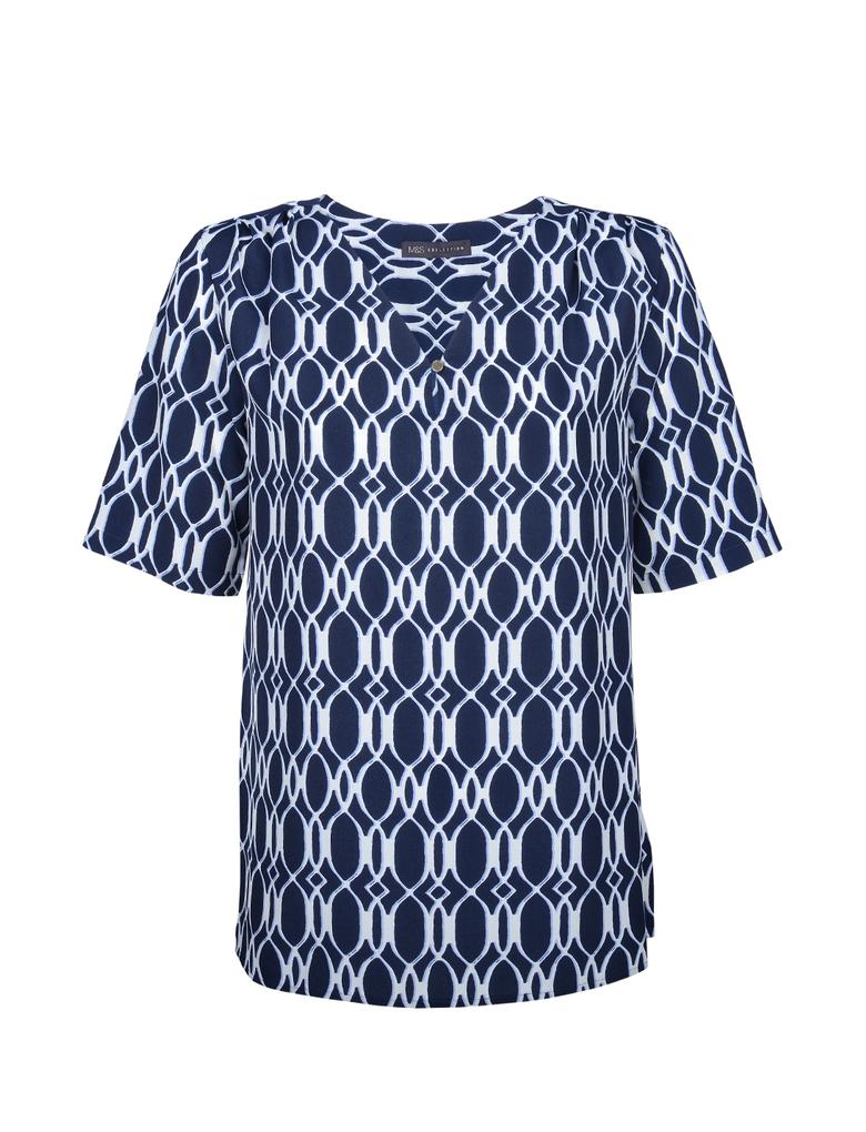 Kadın Mavi Kısa Kollu  Desenli Bluz