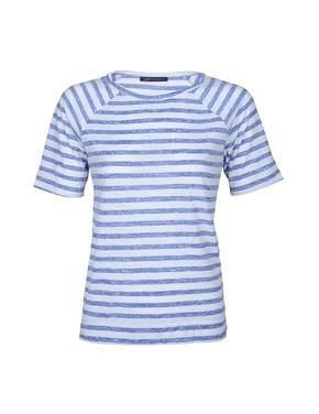 Mavi Kısa Reglan Kollu Çizgili T-Shirt