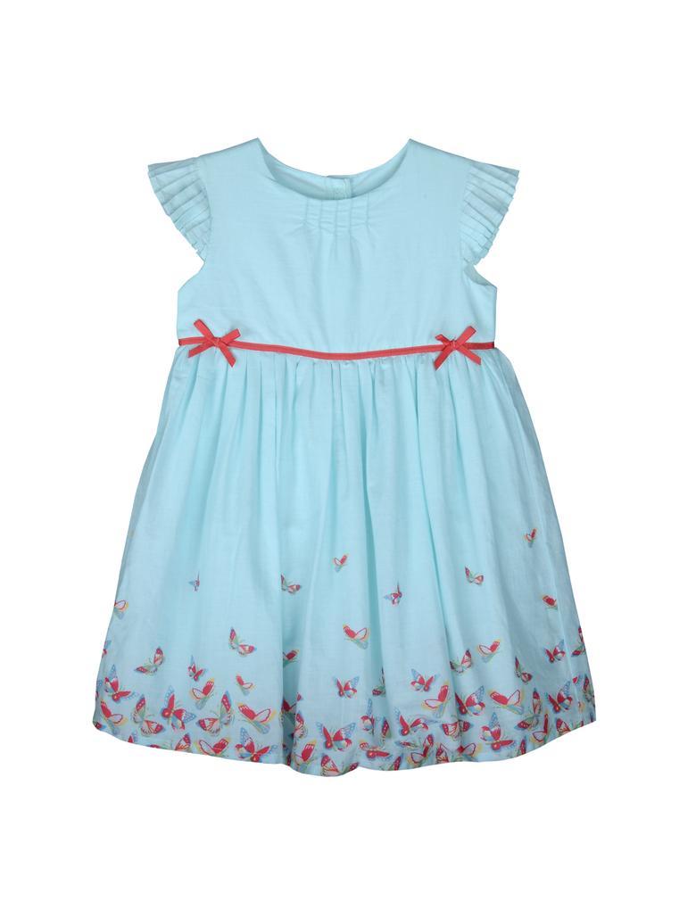 Bebek Mavi Desenli Elbise