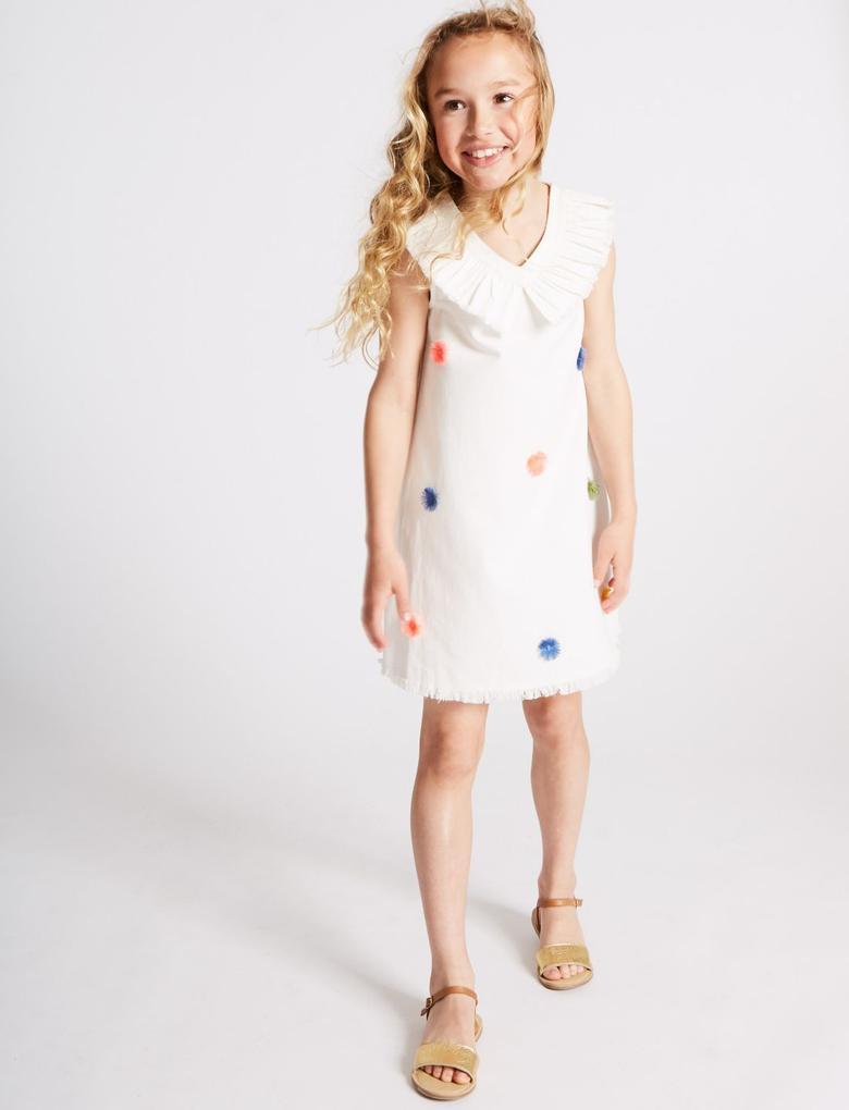Beyaz Saf Pamuklu Ponponlu Elbise