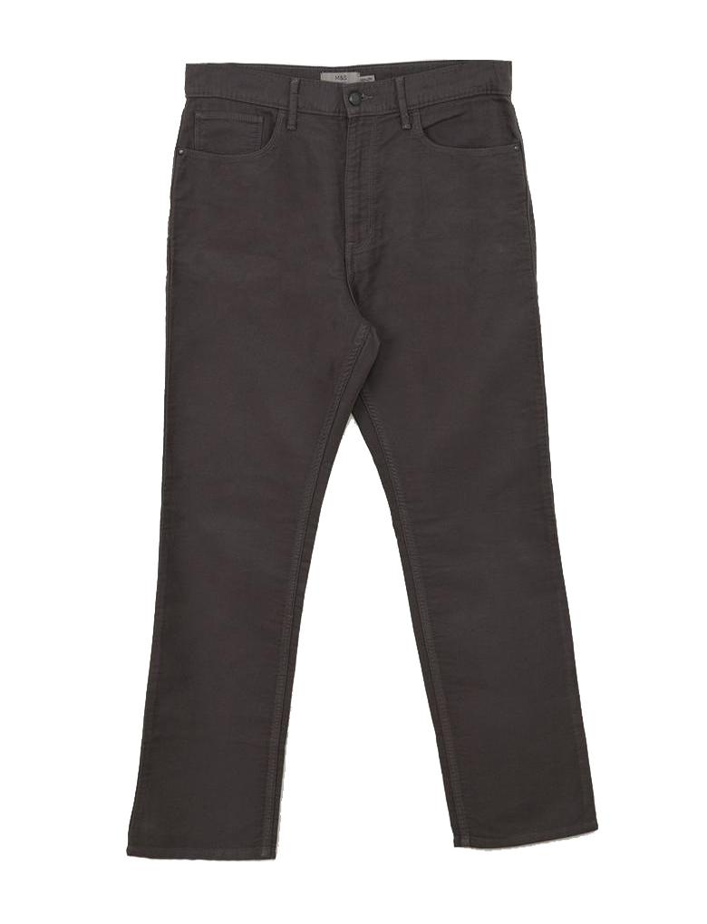 Gri Regular Fit Saf Pamuklu Pantolon