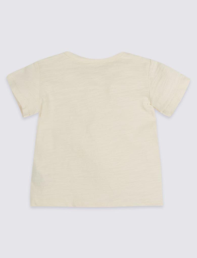 Beyaz Desenli Saf Pamuklu T-Shirt