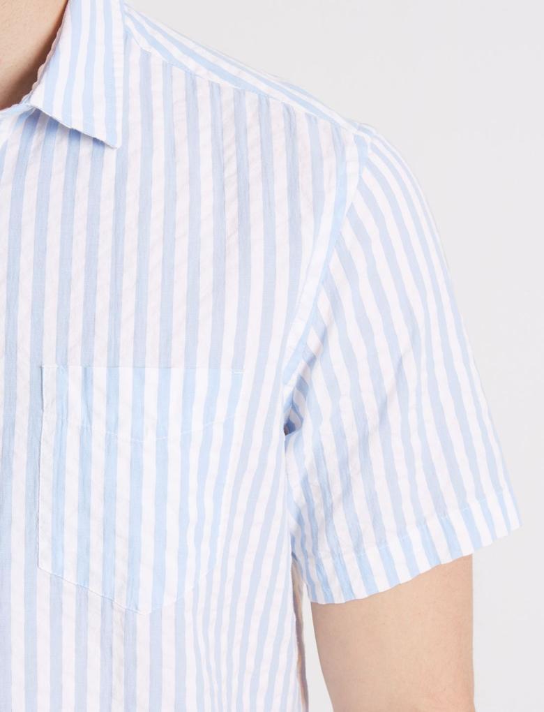 Mavi Saf Pamuklu Çizgili Gömlek