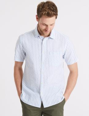 Saf Pamuklu Çizgili Gömlek