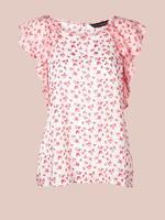 Pembe Saf Pamuklu Kısa Kollu Çiçekli Pijama Üstü