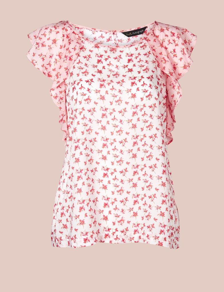 Kadın Pembe Saf Pamuklu Kısa Kollu Çiçekli Pijama Üstü