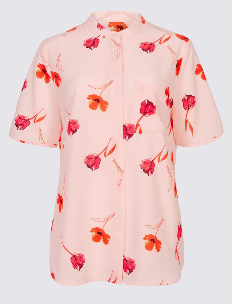 Pembe Yarım Kollu Çiçekli Gömlek