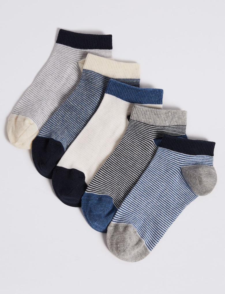 Multi Renk 5'li Desenli Çorap