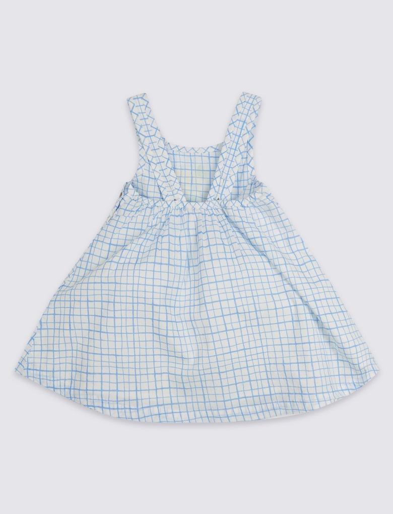 Bebek Beyaz Saf Pamuklu Ekose Elbise